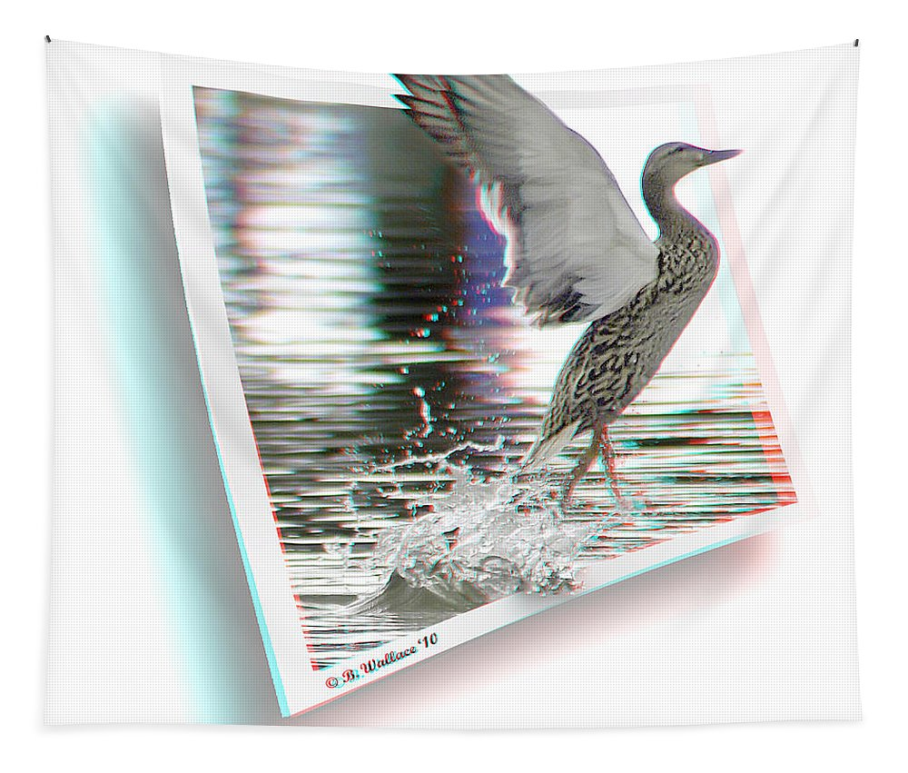 Duck Tapestry featuring the photograph Walking On Water - Use Red-cyan 3d Glasses by Brian Wallace