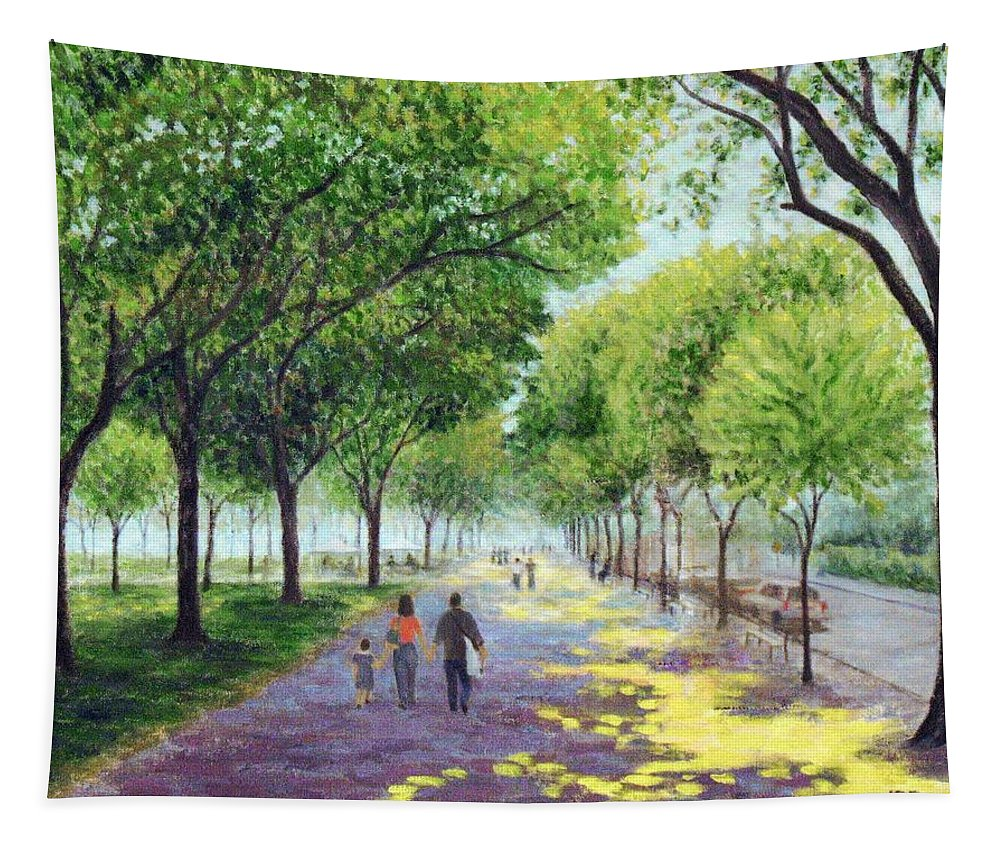 Landscape Tapestry featuring the painting Walking The Mall by Jean Ehler