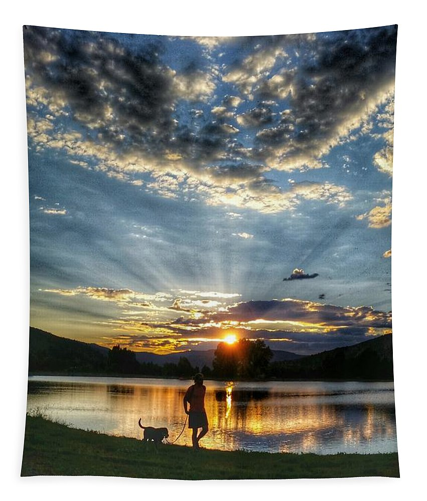Dog Tapestry featuring the photograph Walking With My Best Friend by Fiona Kennard