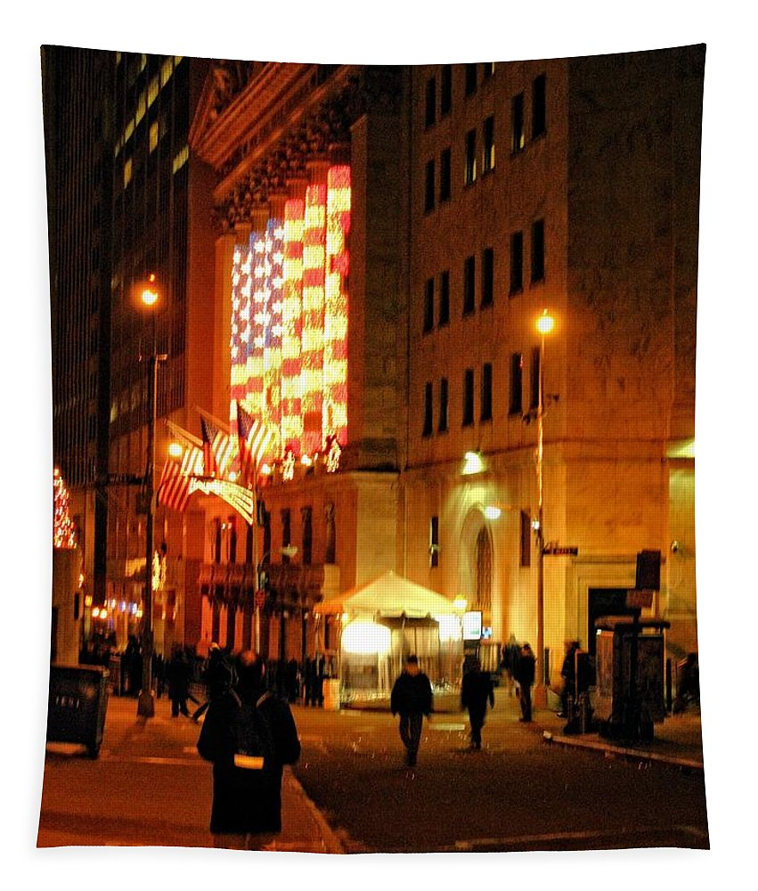 Wall Street Tapestry featuring the photograph Wall Street Evening by Robert McCulloch