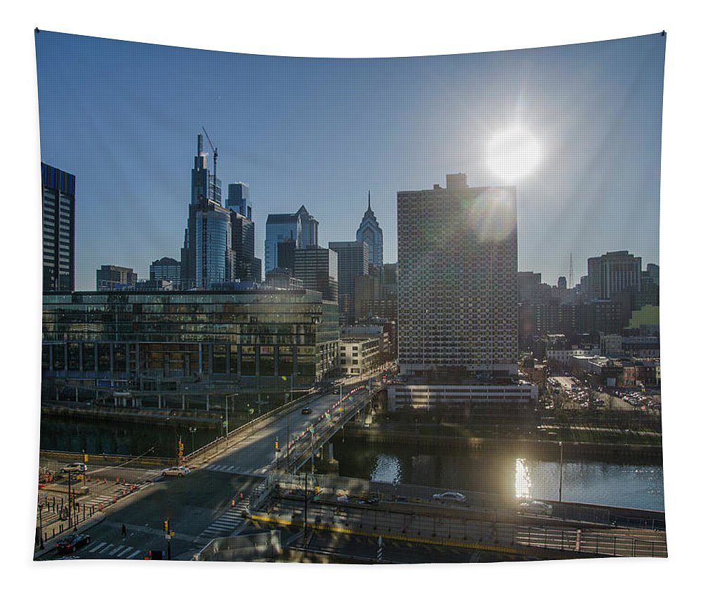 Walnut Tapestry featuring the photograph Walnut Street Sunrise From University City by Bill Cannon