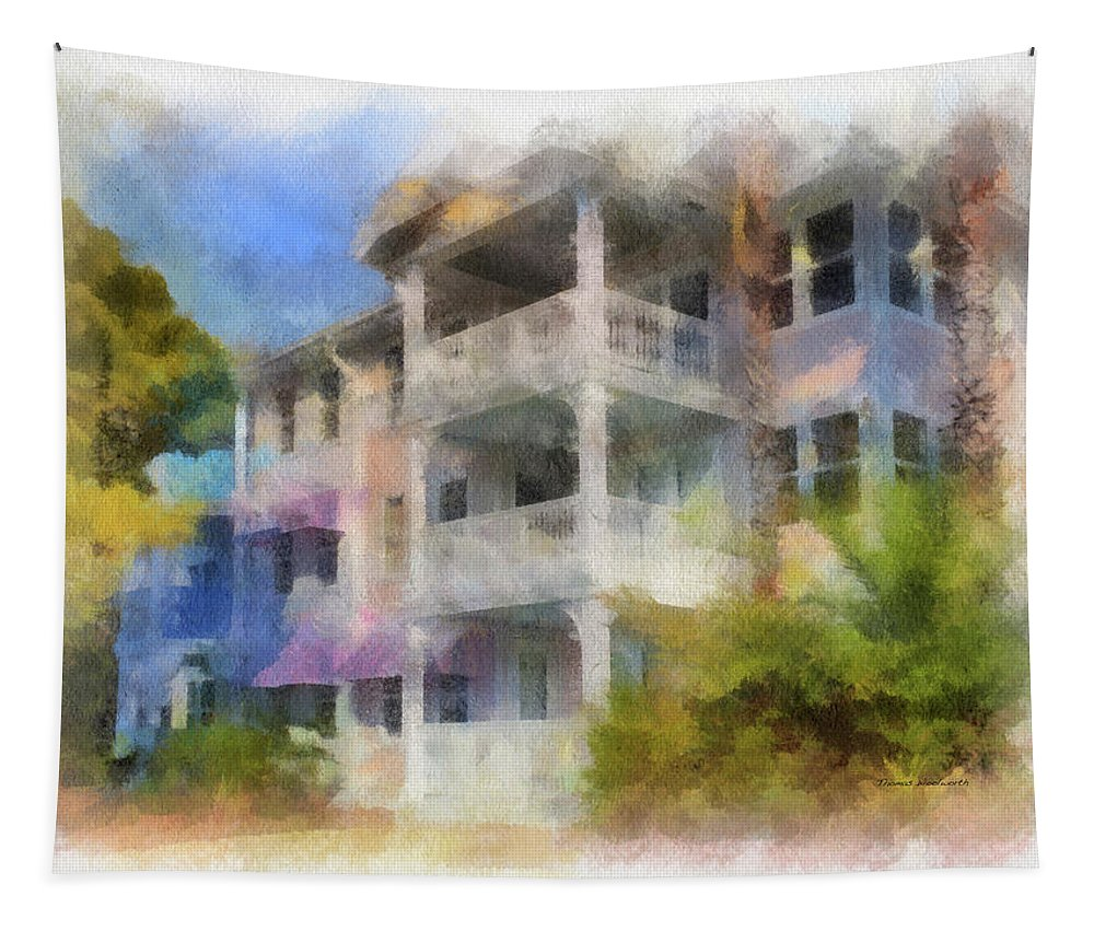 Castle Tapestry featuring the mixed media Walt Disney World Old Key West Resort Villas Pa 01 by Thomas Woolworth