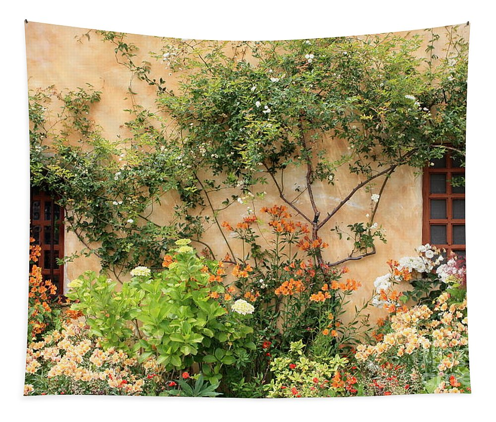 Carmel Mission Tapestry featuring the photograph Warm Colors In Mission Garden by Carol Groenen