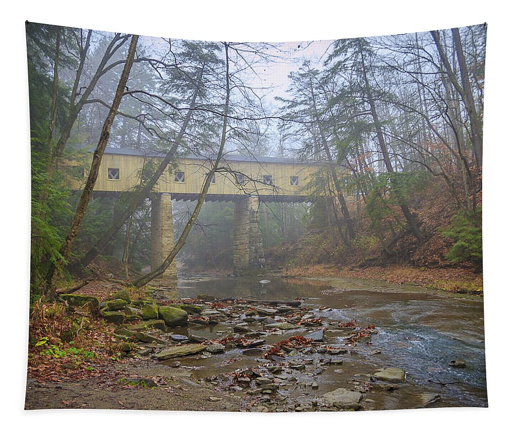 Ohio Tapestry featuring the photograph Warner Hollow Rd Covered Bridge by Jack R Perry