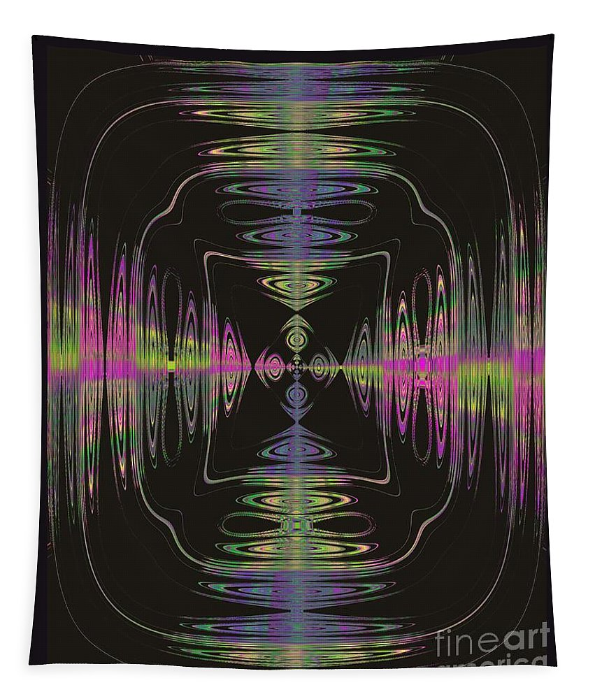 Abstract Tapestry featuring the digital art Warping Neon by Tammie Sisneros