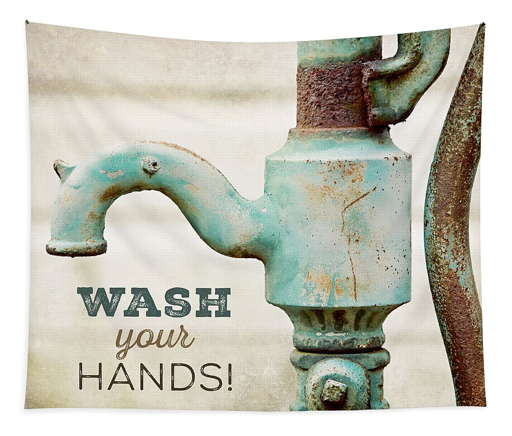 Bathroom Tapestry featuring the photograph Wash Your Hands - Typography Art for Bathroom by Lisa R