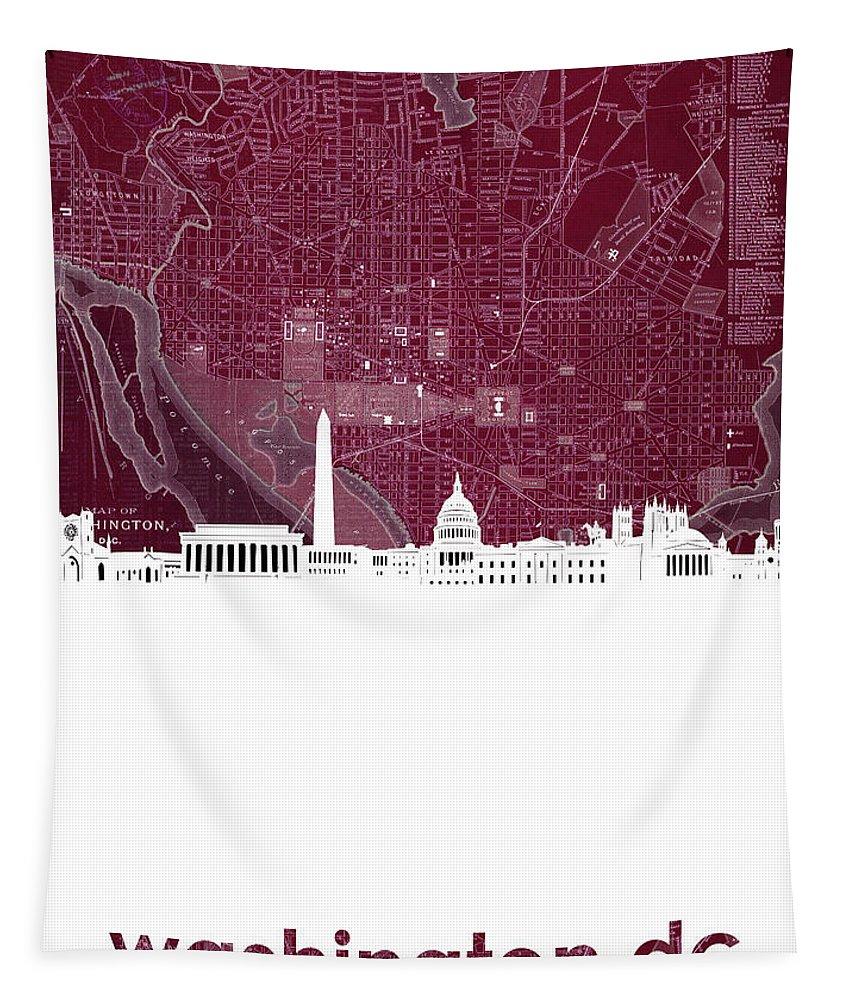 Washington Dc Tapestry featuring the photograph Washington Dc Skyline Map 3 by Bekim Art