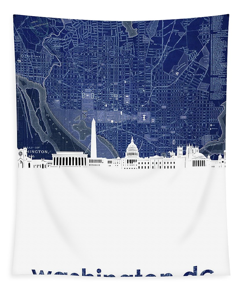 Washington Dc Tapestry featuring the digital art Washington Dc Skyline Map 4 by Bekim Art