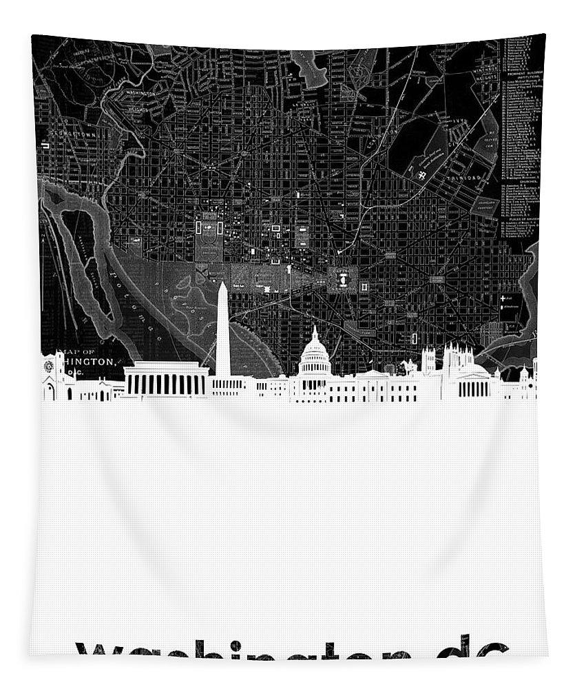 Washington Dc Tapestry featuring the digital art Washington Dc Skyline Map 5 by Bekim Art
