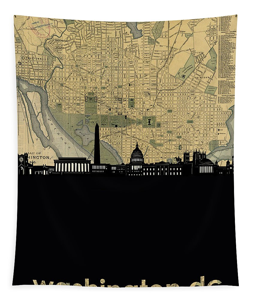 Washington Dc Tapestry featuring the digital art Washington Dc Skyline Map by Bekim Art