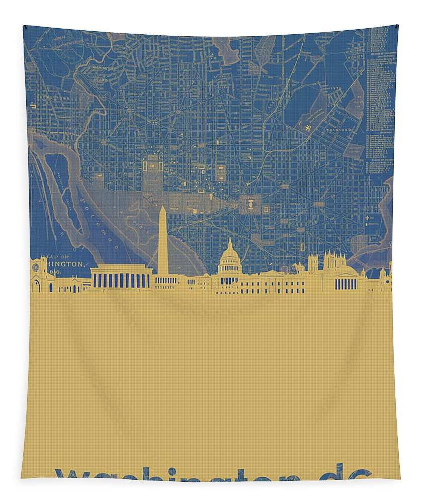 Washington Dc Tapestry featuring the digital art Washington Dc Skyline Map2 by Bekim Art