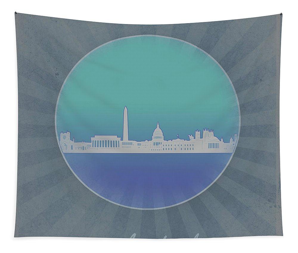 Washington Dc Tapestry featuring the digital art Washington Dc Skyline Minimalism 12 by Bekim Art