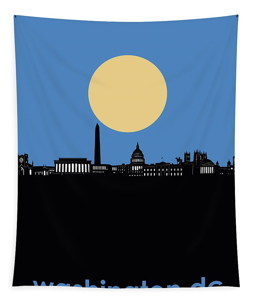 Washington Dc Tapestry featuring the digital art Washington Dc Skyline Minimalism 4 by Bekim Art