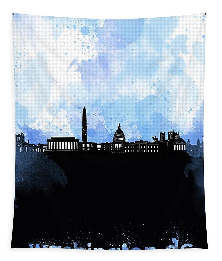 Washington Dc Tapestry featuring the digital art Washington Dc Skyline Minimalism 8 by Bekim Art