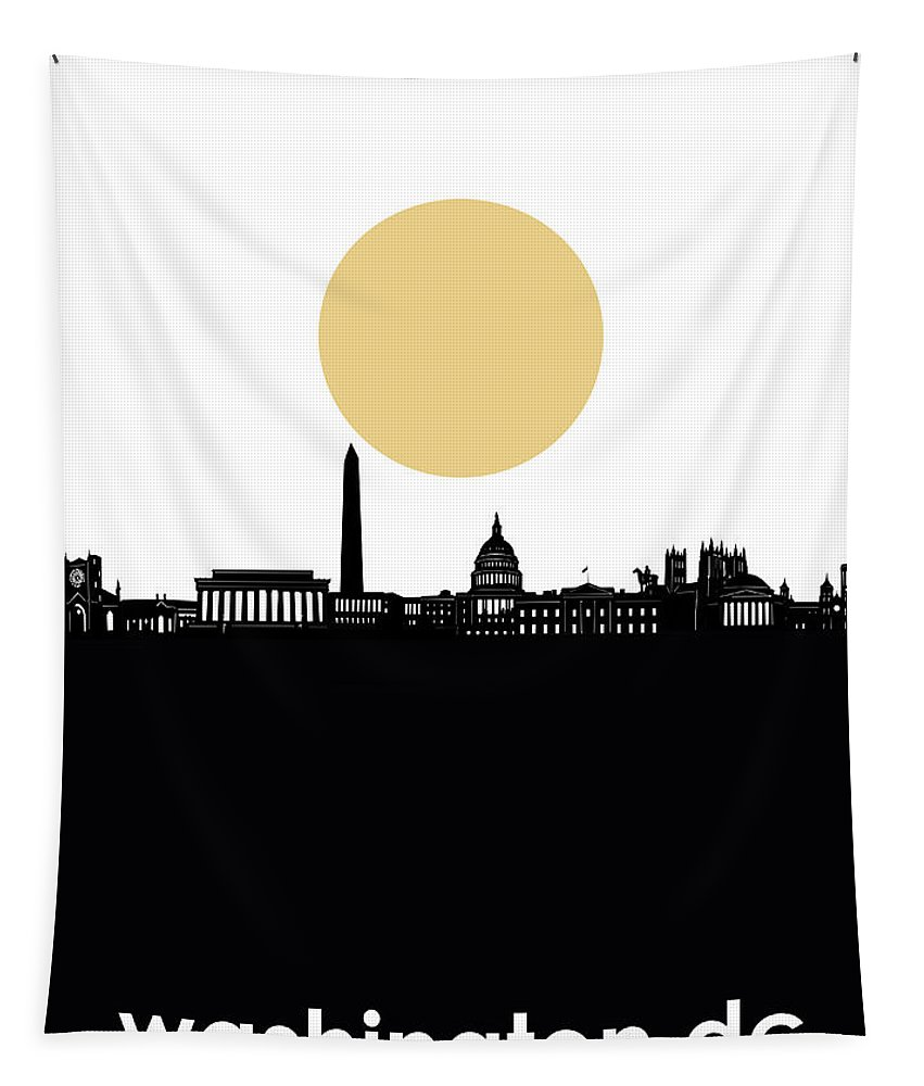Washington Dc Tapestry featuring the digital art Washington Dc Skyline Minimalism by Bekim Art