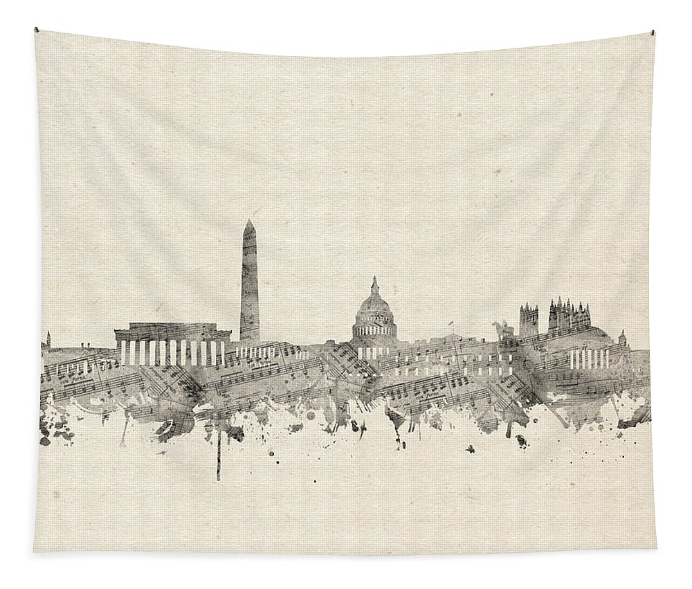 Washington Dc Tapestry featuring the digital art Washington Dc Skyline Music Notes 2 by Bekim Art