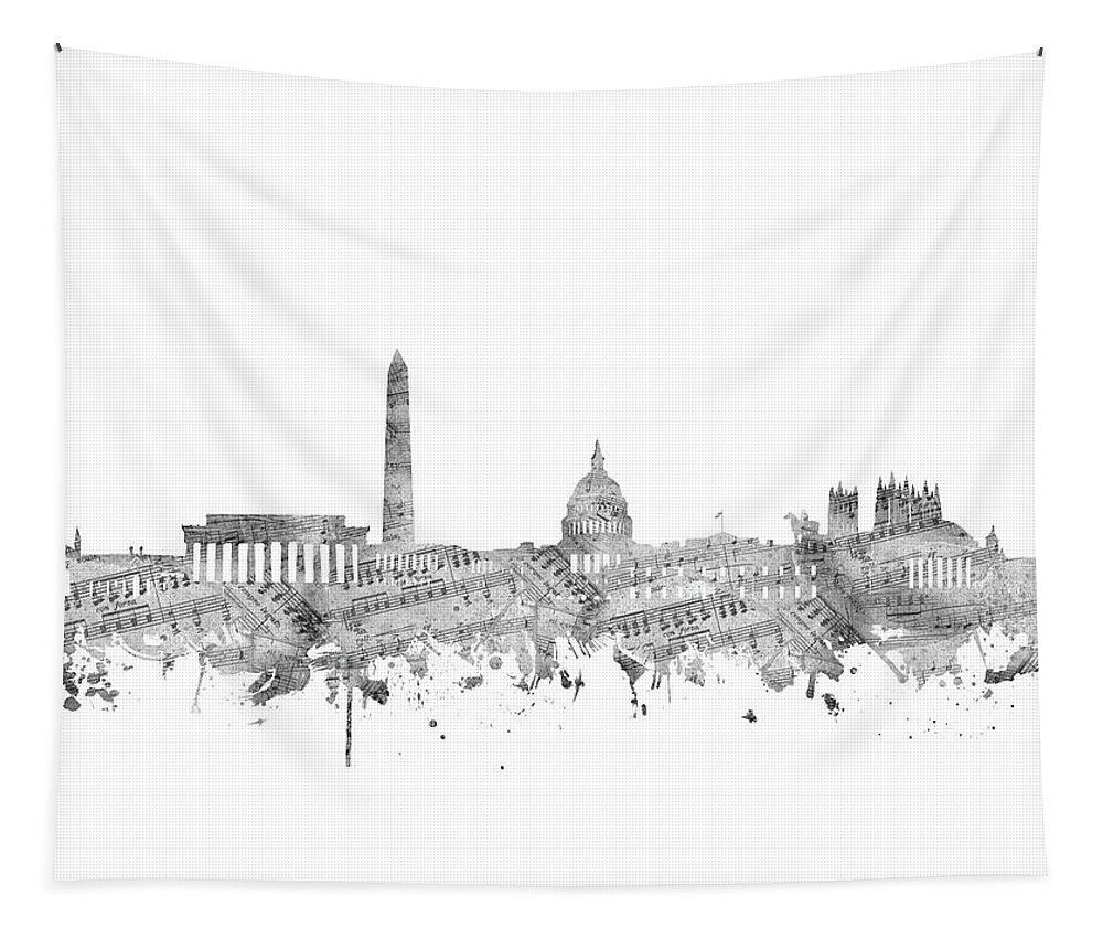 Washington Dc Tapestry featuring the digital art Washington Dc Skyline Music Notes by Bekim Art
