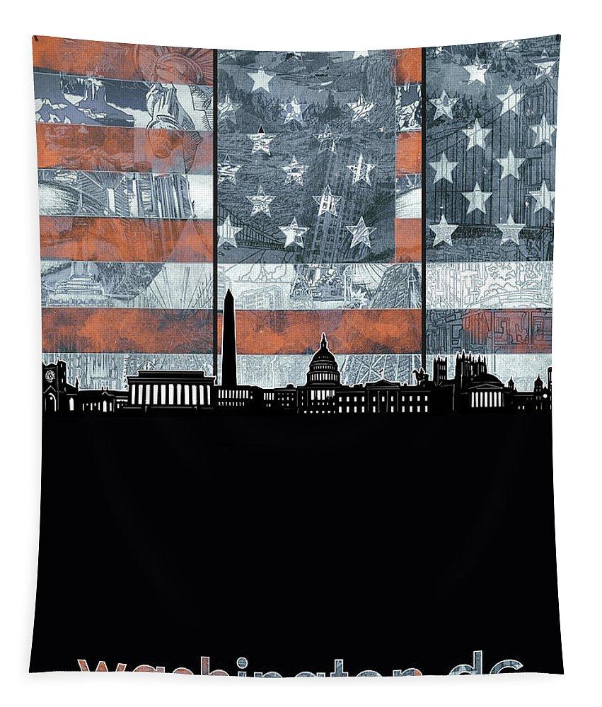 Washington Dc Tapestry featuring the digital art Washington Dc Skyline Usa Flag by Bekim Art