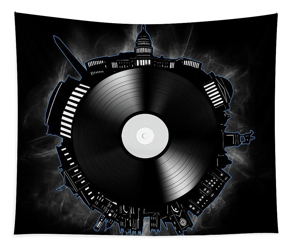 Washington Dc Tapestry featuring the digital art Washington Dc Skyline Vinyl 10 by Bekim Art