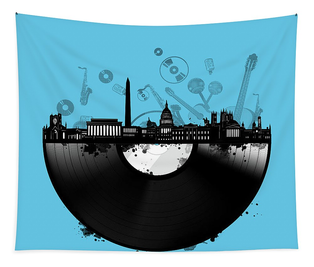 Washington Dc Tapestry featuring the digital art Washington Dc Skyline Vinyl 2 by Bekim Art