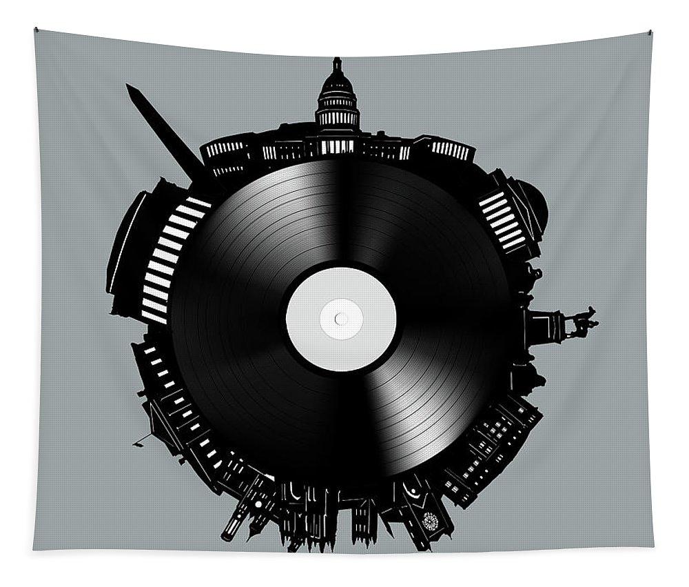 Washington Dc Tapestry featuring the digital art Washington Dc Skyline Vinyl 8 by Bekim Art