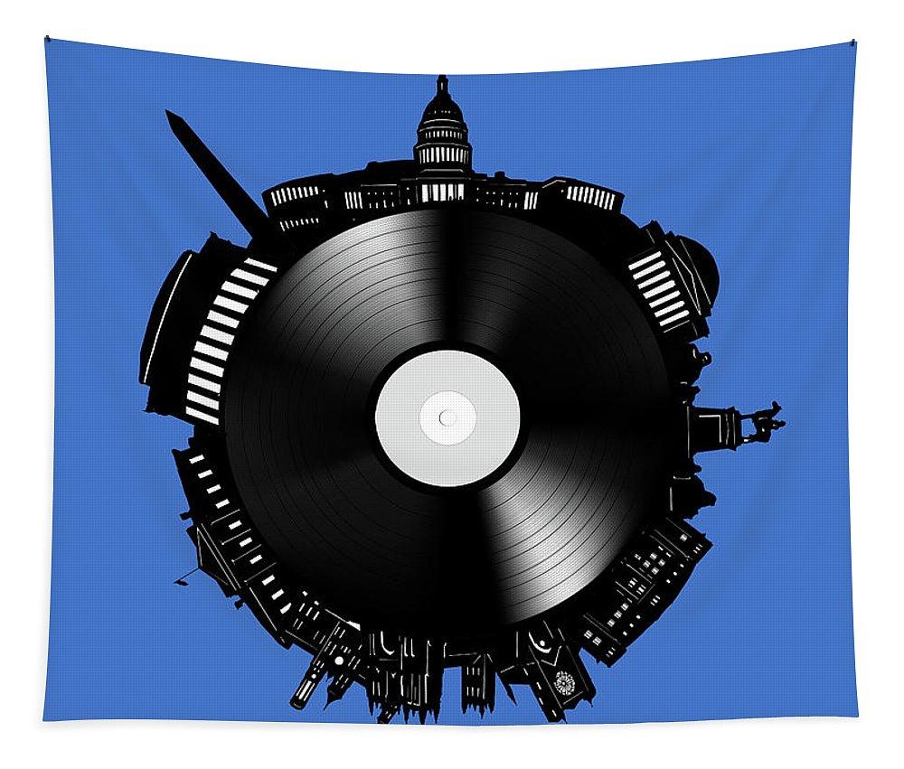 Washington Dc Tapestry featuring the digital art Washington Dc Skyline Vinyl 9 by Bekim Art