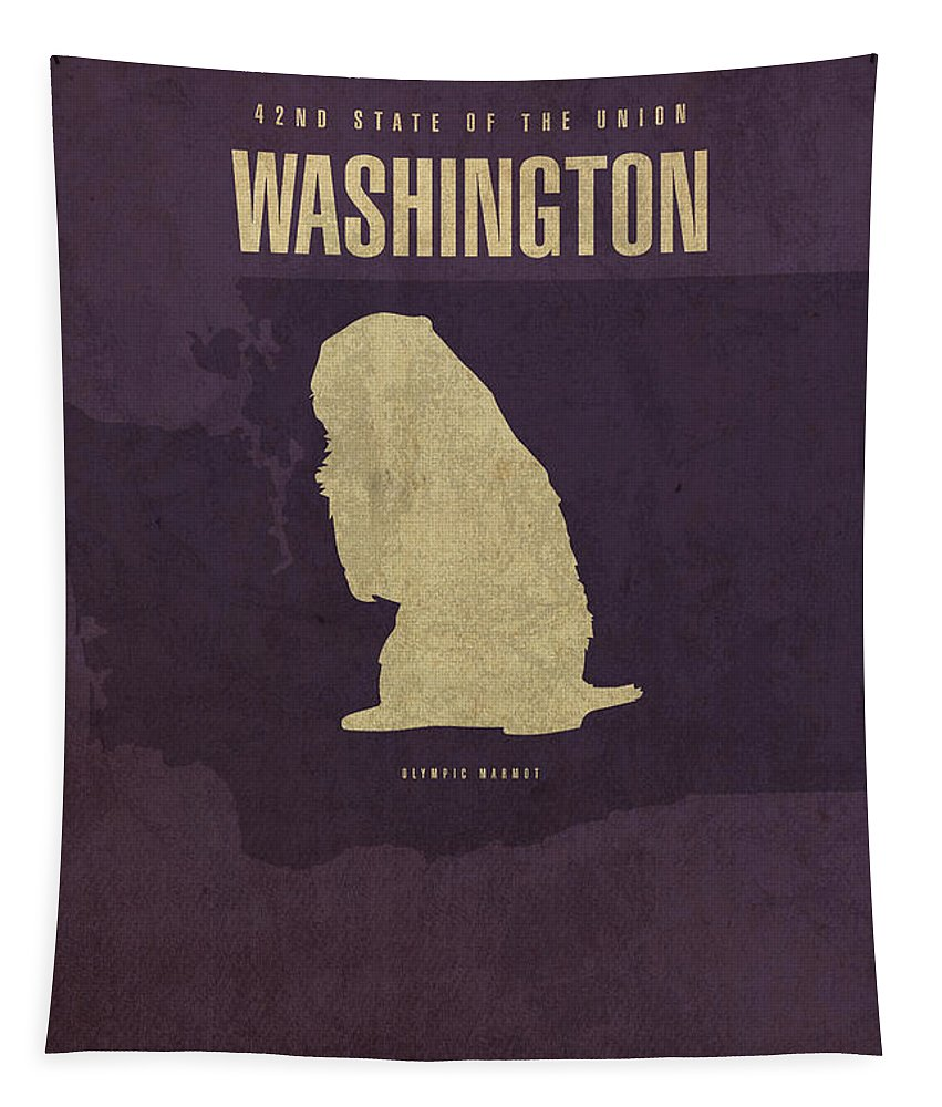 Washington Tapestry featuring the mixed media Washington State Facts Minimalist Movie Poster Art by Design Turnpike