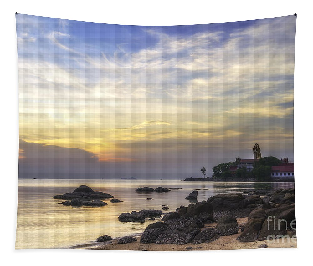 Michelle Meenawong Tapestry featuring the photograph Wat Prah Yai Temple At Dusk by Michelle Meenawong