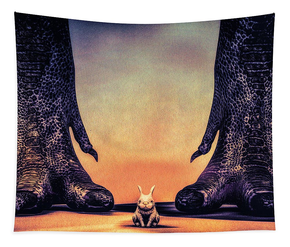 Dinosaur Tapestry featuring the digital art Watch Out Little Bunny by Bob Orsillo