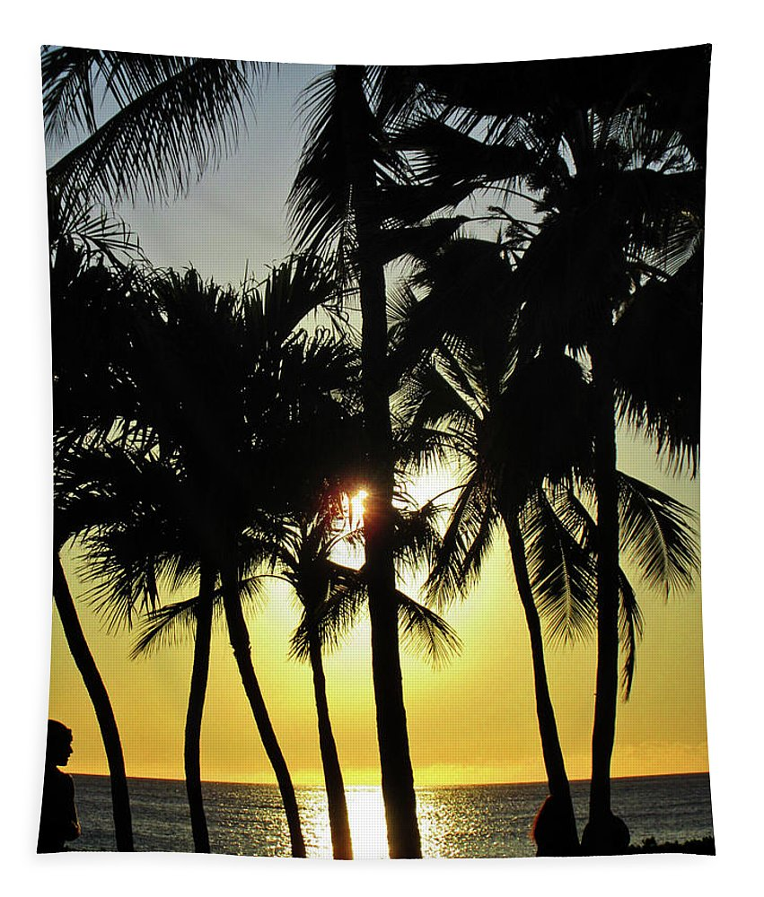 Hawaii Tapestry featuring the photograph Watching The Hawaiian Sunset by Maria Keady
