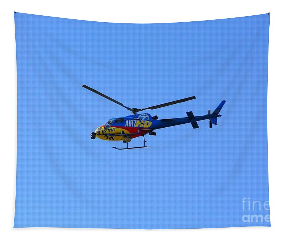 Helicopter Tapestry featuring the photograph Watching The Watchers by Leah McPhail