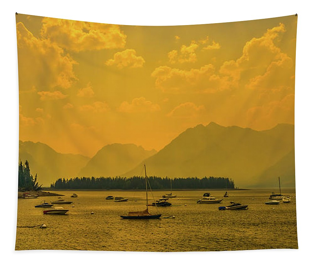 Leeks Marina Tapestry featuring the photograph Water And Fire At Leeks Marina by Yeates Photography