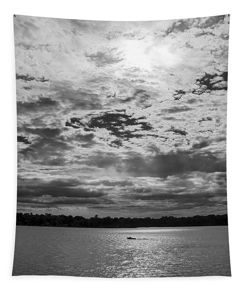 2d Tapestry featuring the photograph Water And Sky - Bw by Brian Wallace