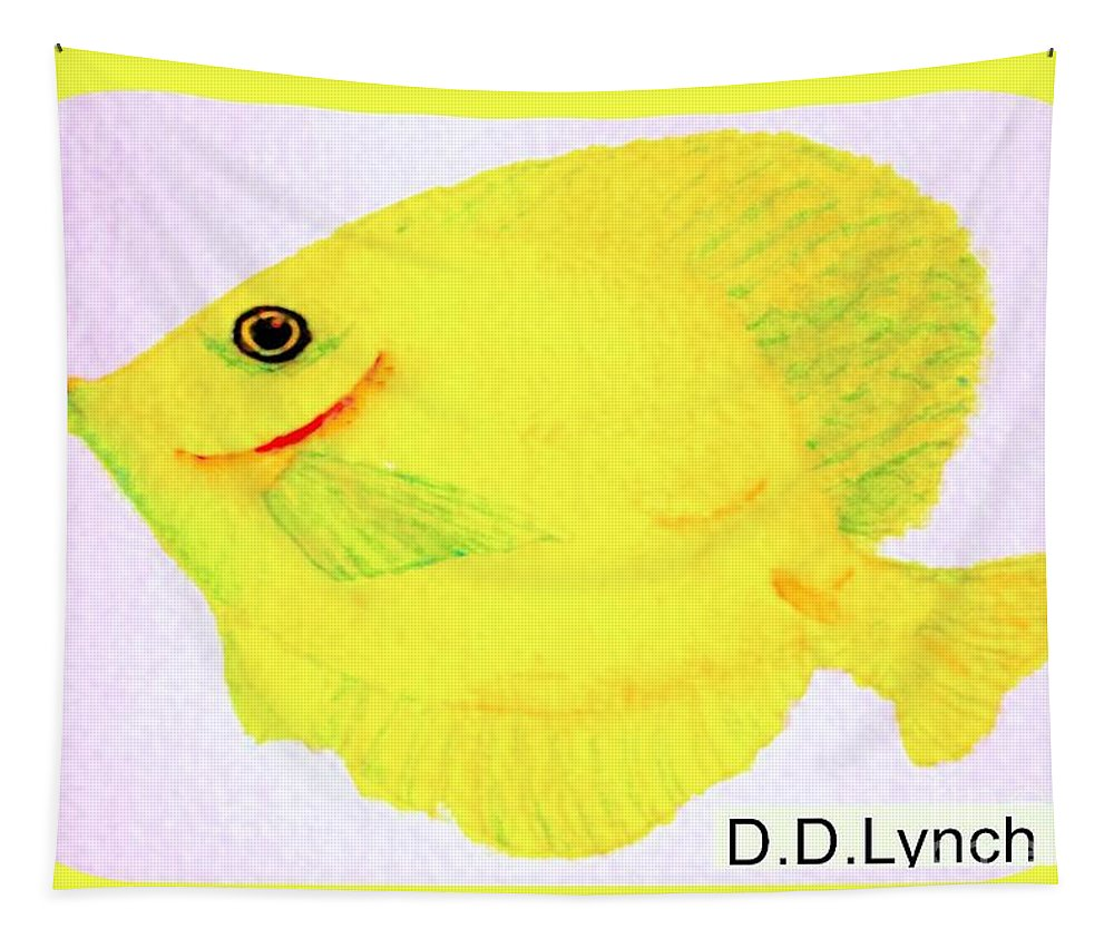 Yellow Tapestry featuring the painting Water Color Of Fish by Debra Lynch