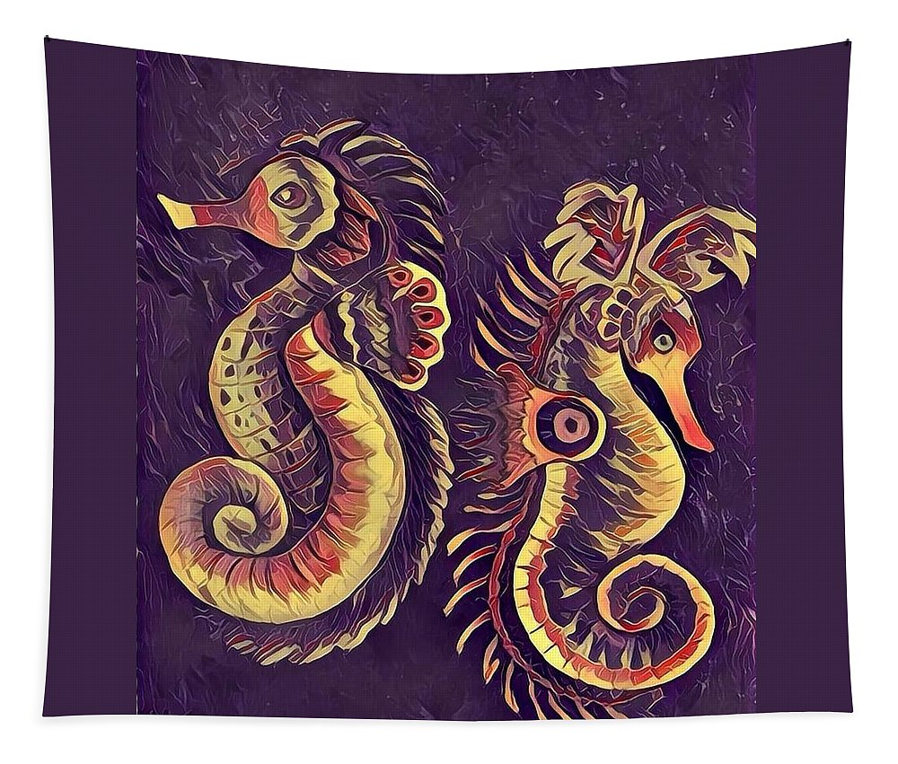 Sea Horses Tapestry featuring the painting Water Horses 1 by Megan Walsh