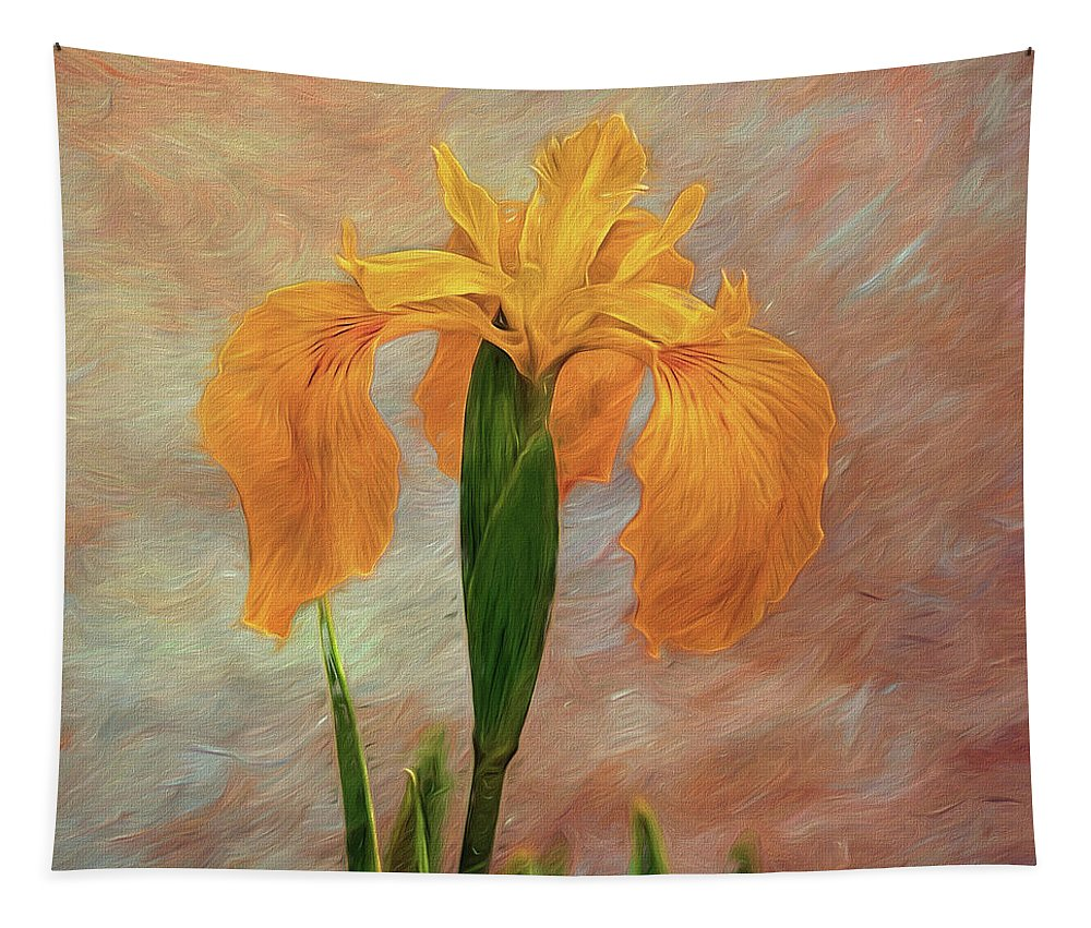 Iris Tapestry featuring the photograph Water Iris - Textured by Susie Peek