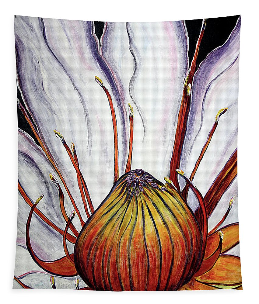 Water Lilly Tapestry featuring the painting Water Lilly by Jolanta Anna Karolska