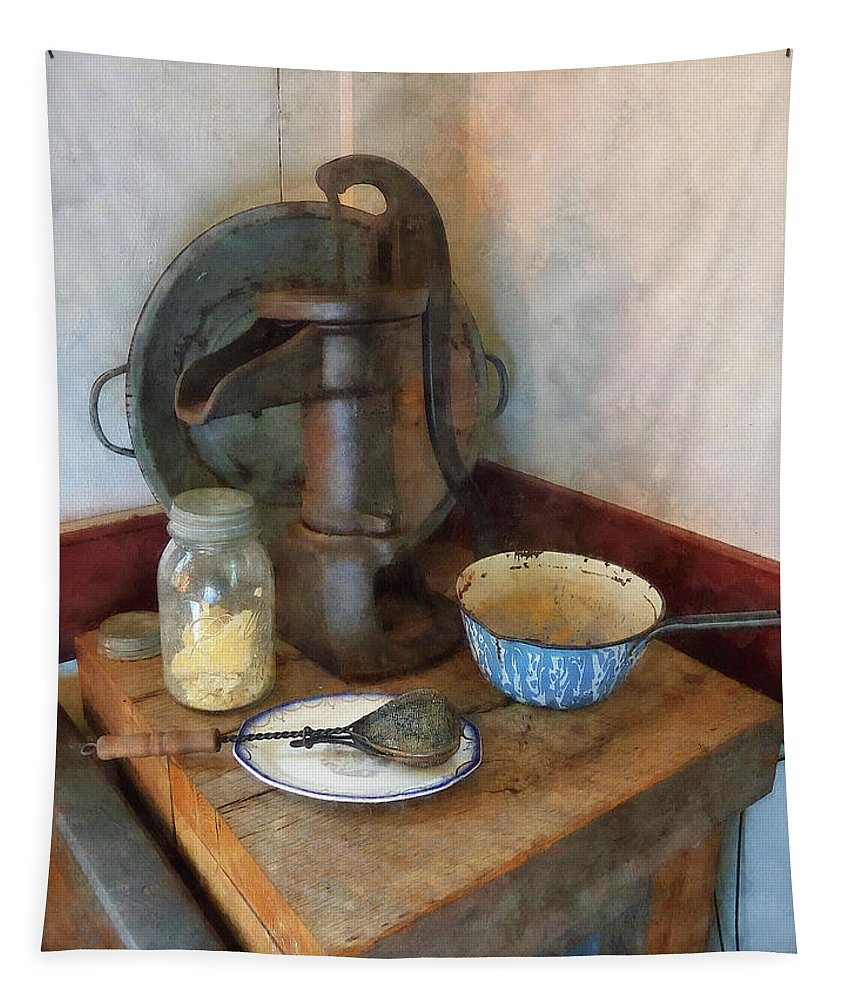 Pump Tapestry featuring the digital art Water Pump In Kitchen by Susan Savad