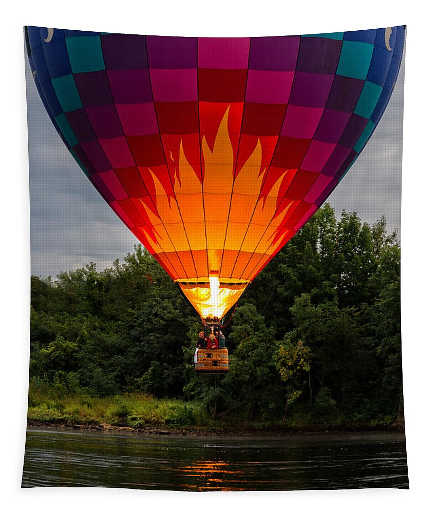 Water Scraping Tapestry featuring the photograph Water Scraping Hot Air Balloons by Bob Orsillo