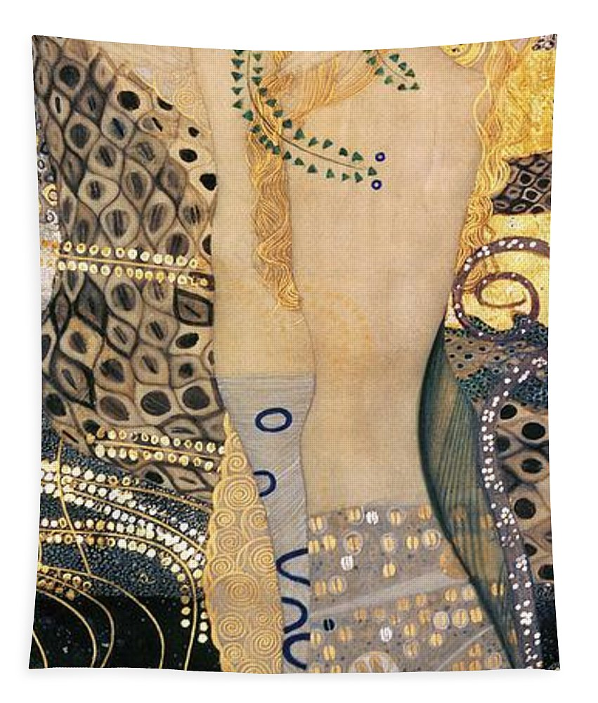 Gustav Klimt Tapestry featuring the painting Water Serpents I by Gustav klimt