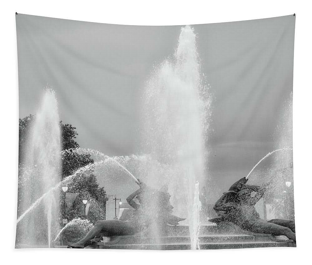 Black Tapestry featuring the photograph Water Spray - Swann Fountain - Philadelphia In Black And White by Bill Cannon
