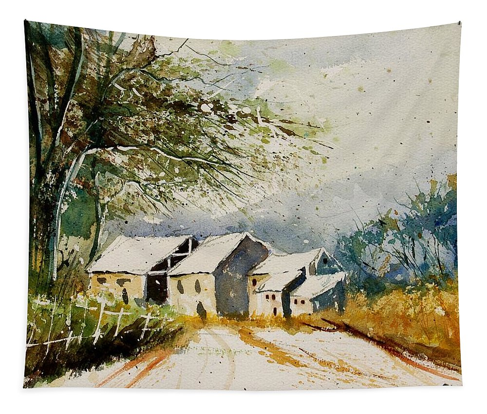 Landscape Tapestry featuring the painting Watercolor 010708 by Pol Ledent