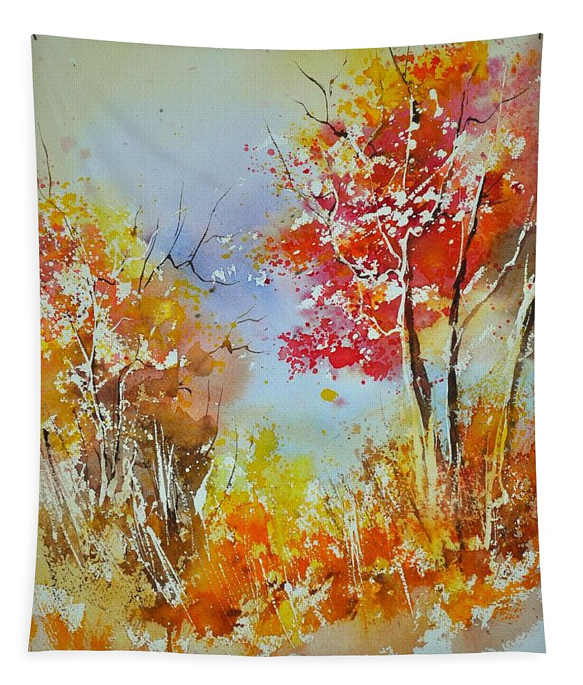 Landscape Tapestry featuring the painting Watercolor 011121 by Pol Ledent