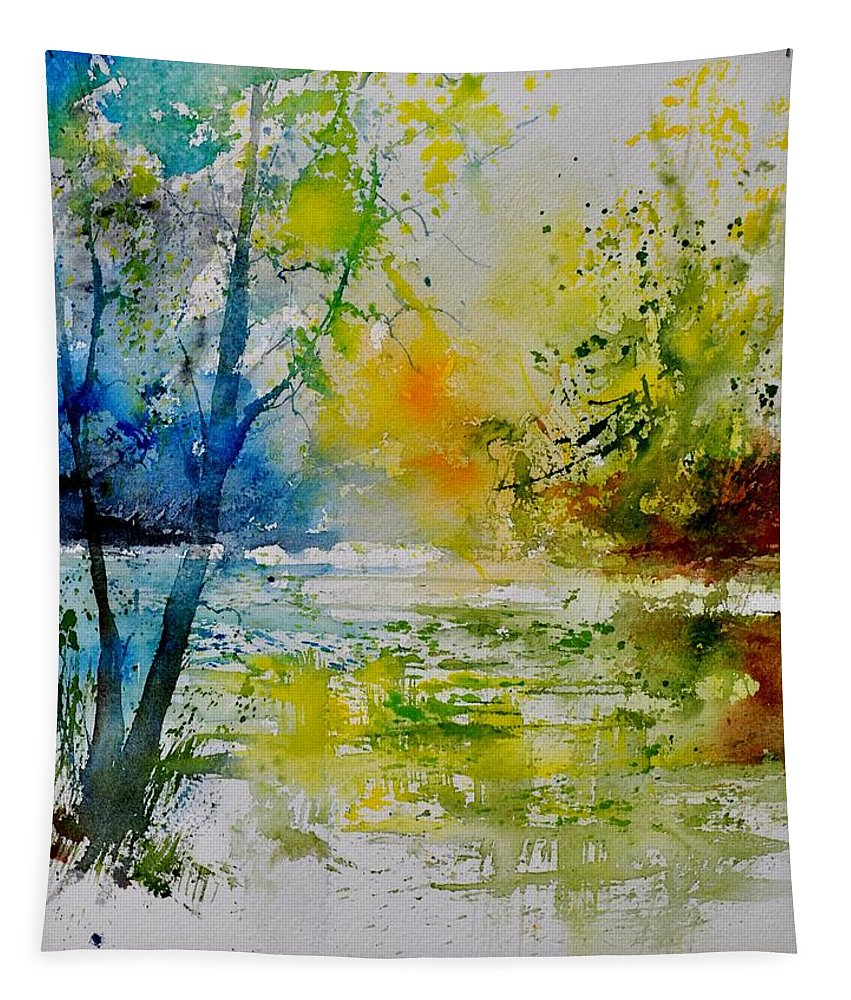 Pond Tapestry featuring the painting Watercolor 015003 by Pol Ledent