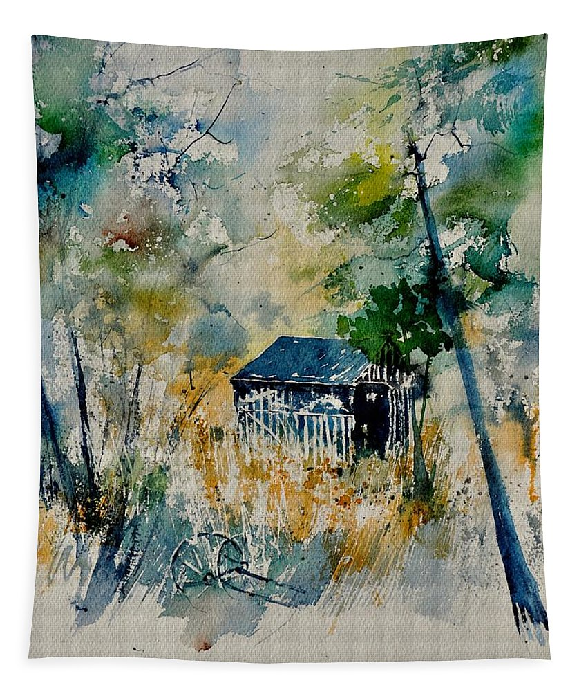 Landscape Tapestry featuring the painting Watercolor 015042 by Pol Ledent