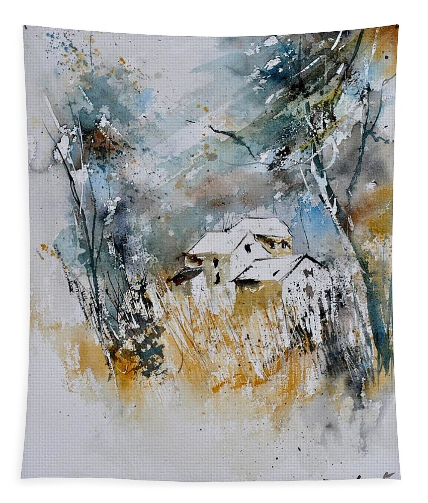 Landscape Tapestry featuring the painting Watercolor 015060 by Pol Ledent
