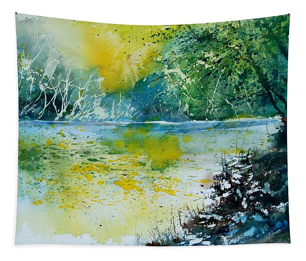 Pond Tapestry featuring the painting Watercolor 051108 by Pol Ledent