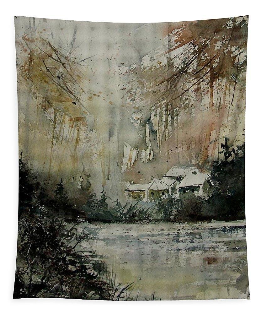 Landscape Tapestry featuring the painting Watercolor 070608 by Pol Ledent