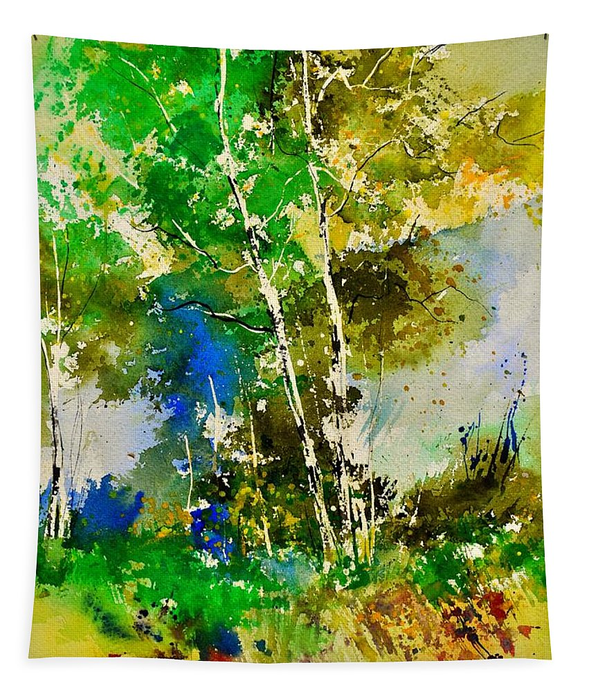 Landscape Tapestry featuring the painting Watercolor 111061 by Pol Ledent