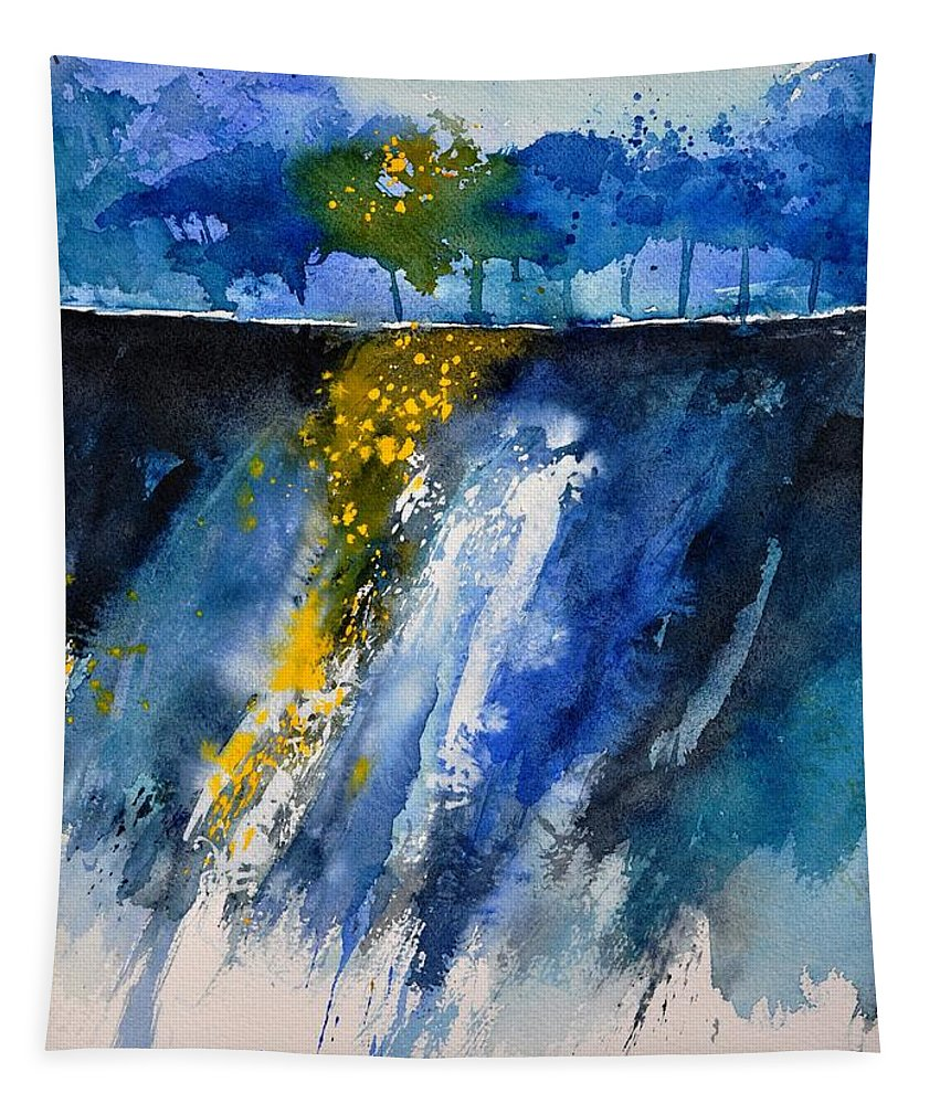Abstract Tapestry featuring the painting Watercolor 119001 by Pol Ledent